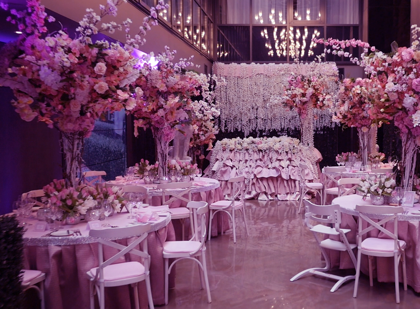 Pink wedding 7sky reception